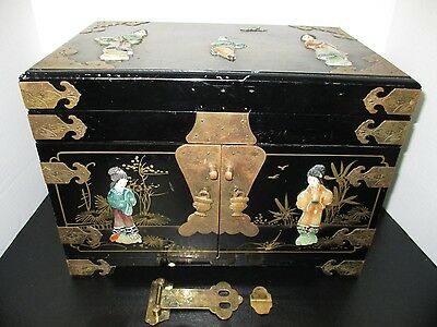 Japanese Black Lacquer Jewelry Box w Soap Stonefigures  Beautiful - Some Damgaes