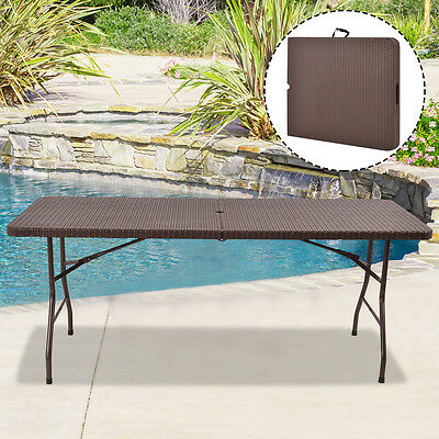 6' Folding Table Rattan Portable Indoor Outdoor Picnic Party Dining Camping
