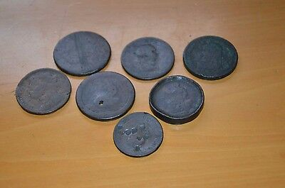 7 Very Old British Copper Coins.