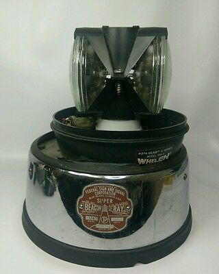Federal Super Beacon Ray Chrome Base w 174 Badge + Whelen Rotating Lights