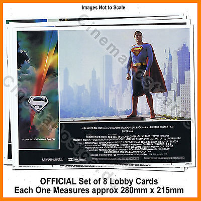 Superman (1978) The Movie Christopher Reeve OFFICIAL Set of 8 Lobby Picture Card