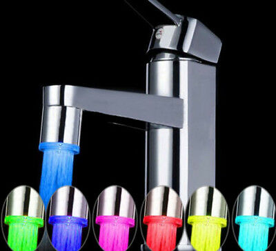 LED Water Faucet Stream Light 7 Colors Changing Glow Shower Stream Tap BathroomX