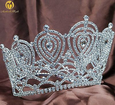 Beauty Pageant Tiara Contoured Silver Crown Rhinestone Wedding Bridal Party Prom