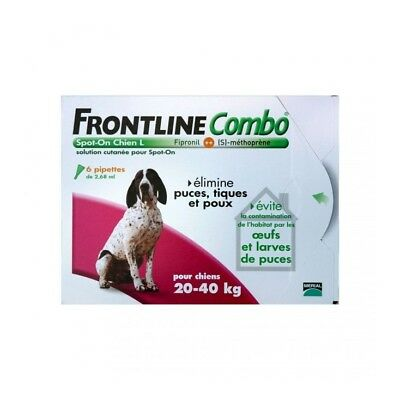 Frontline Combo Spot-On L Chien  (20-40 kg) 6 Pipettes