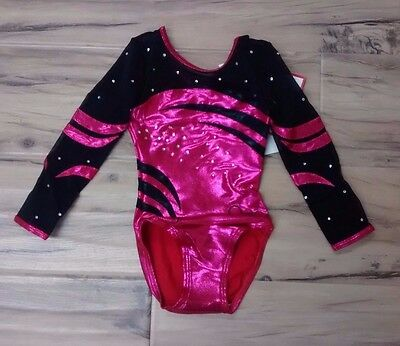 "Quatro Gymnastics Girls Long sleeve Leotard Cherry & Black Net 26"" Intermediate"