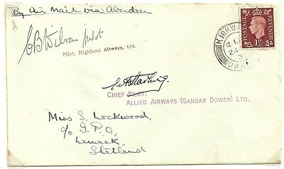First Flight Cover Kirkwall to Lerwick via Aberdeen 1937 signed