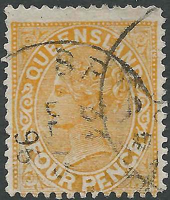 QUEENSLAND 1890 Q. Vic 4d Lemon p12.5,13 PENGE for PENCE sg195a cv£38 fine used