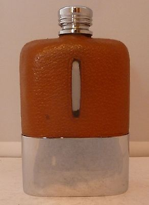 1950's Silver Plate Plated Leather Bound Glass Hip Flask Excellent Condition
