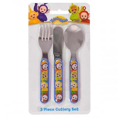 Teletubbies 3 Piece Cutlery Set - Kids Kitchen Dining Spoon Knife Fork NEW GIFTS