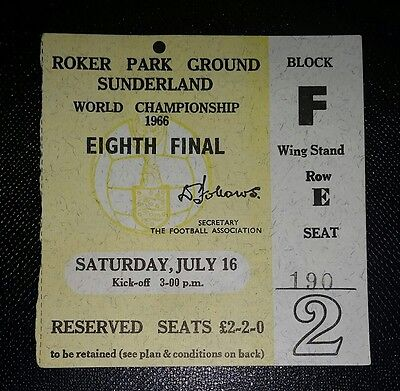 Original 1966 world cup ticket ITALY  v SOVIET UNION roker park