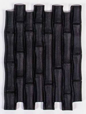 "Midnight Black Finish ""Thailand"" Hand Cast Bamboo Styled Garden Stepping Stone"