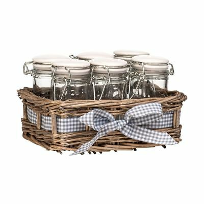 Country Cottage Set of 6 Spice Jars Glass with Grey Willow Basket Storage