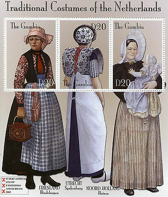 Gambia 2002 MNH Traditional Costumes of Netherlands 3v M/S Spakenburg Stamps
