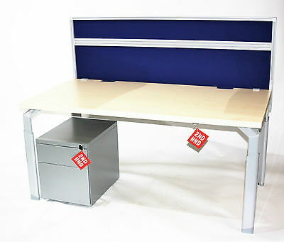 Haworth EPURE Desks 1600 x 800 Light Maple with screen and pedestal
