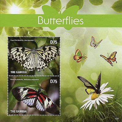 Gambia 2015 MNH Butterflies 2v S/S I Insects Kite Piano Key Butterfly Stamps