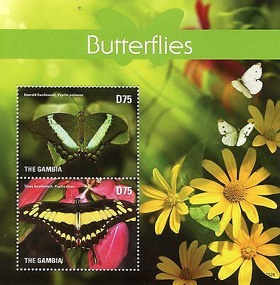 Gambia 2015 MNH Butterflies 2v S/S II Insects Emerald Thoas Swallowtail Stamps