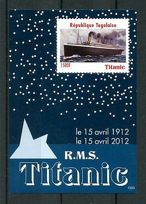 Togo 2012 MNH RMS Titanic 100 Year Anniv 1v S/S Ships Boats Stamps