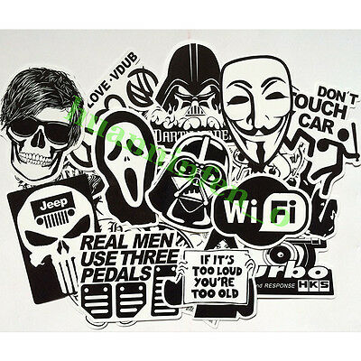 60 pcs Mix Lot Black White Stickers Skateboard Graffiti Laptop Luggage Car Decal