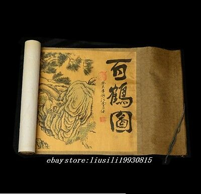 old Chinese of scroll painting 100 crane figure