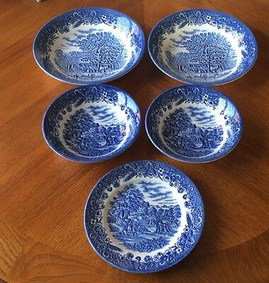 """5 Pieces Churchill """"Gathering the Harvest"""" Blue & White"""