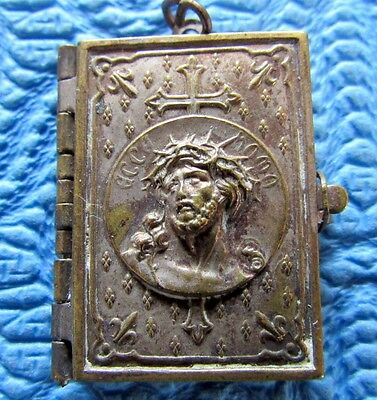 Vtg Antique Booklet Locket Pendant Stations Of The Cross Religious Medal Ihs