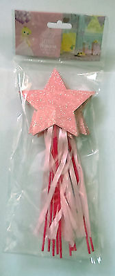 10 LITTLE PRINCESS PARTY WANDS Pink GLITTER STARS & RIBBONS Guest Favours Girls