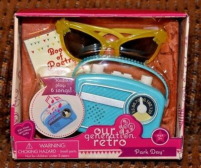 Our Generation Retro For American Girl Dolls Park Day Radio Plays 6 Songs NEW
