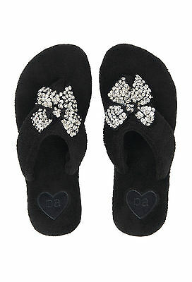 Ladies Peter Alexander black glitter bow thong slippers   NWT  Size M