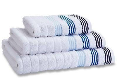 Catherine Lansfield White/Blue Garret Stripe 100% Cotton Bathroom Towels