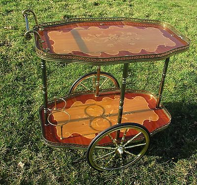 Bar Cocktail Tea Cart Trolley Italian Hollywood Regency Marquetry Vintage Lovely