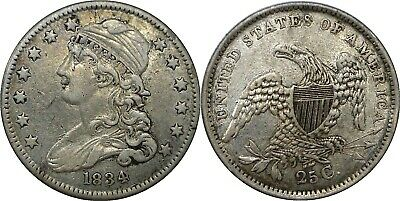 1834 25C Capped Bust Quarter Reduced Size Extra Fine Details