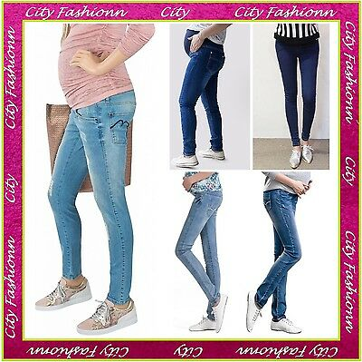 Blue Skinny Maternity Jeans Pregnancy Trousers Clothes Size  8 10 12 14 16 MJ2