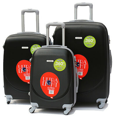 NEW 3 Piece Travel Luggage Baggage 4 Wheels ABS Hard Shell Trolley Suitcase Set