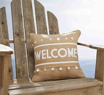 Mud Pie Burlap Welcome Sea Shell Pillow Wrap - Pillow Not included