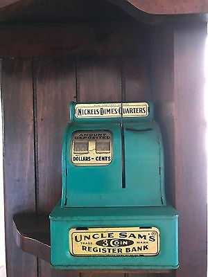 Uncle Sam's 3 Coin Register Bank 1950s Metal Toy