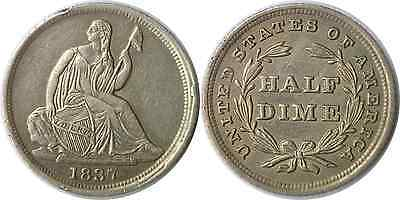 1837 1/2D Liberty Seated Half Dime Small Date Almost Uncirculated Details