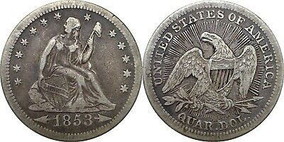 1853 25C Arrows and Rays Liberty Seated Quarter Extra Fine