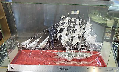 "Sterling Silver Model Ship Pierced Filigree Glass Case Cloth Box 14 1/2""L x 9 ""H"