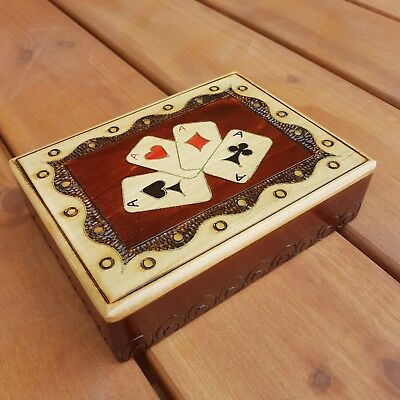 New Fantastic Wooden Double Playing Cards Box In Brown Colour