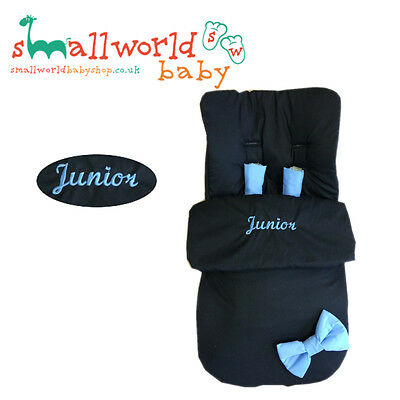 Personalised Black With Blue Bows Footmuff Cosytoes (NEXT DAY DISPATCH)