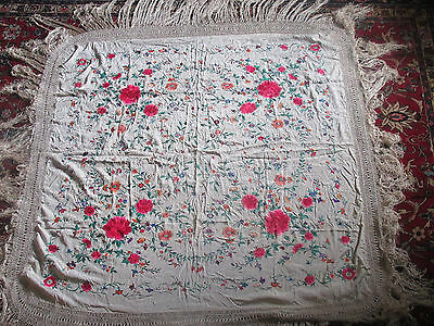Antique Chinese Canton Embroidery Silk Piano Shawl Floral Rose Fringe Wedding