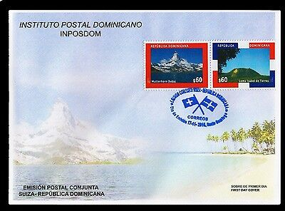 "Dominican Republic-Switzerland Joint Issue,""Matterhorn"" Mountain,Bávaro FDC 2016"