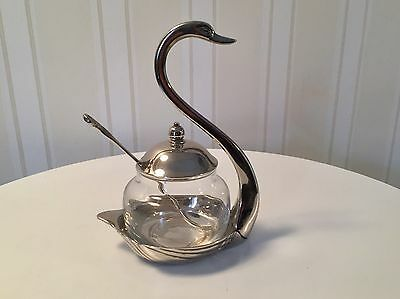 Vintage Glass Sugar/ Spices Bowl  With Base And Spoon Chrome With Swan Details