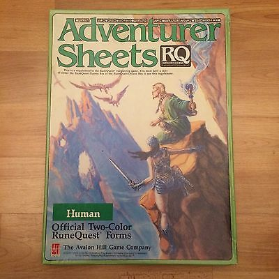 Runequest Adventurer Sheets Human Two-Color Forms Avalon Hill Game Company
