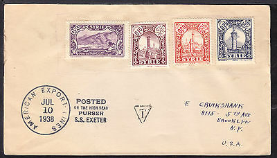 "1938 SYRIA 1.05p on S.S. ""EXETER"" PAQUEBOT COVER TO BROOKLYN, NY."