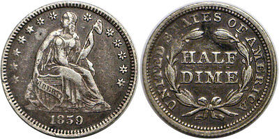 1859 5C Liberty Seated Half Dime Extra Fine