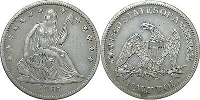 1865-S 50C Liberty Seated Half Dollar Extra Fine Details
