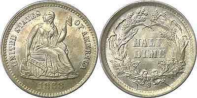 1868-S 1/2D Liberty Seated Half Dime Uncirculated Details