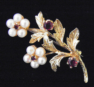 9 carat Gold Pearl and Ruby Brooch - Hallmarked