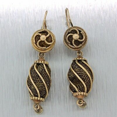 1850s Antique Victorian 14k Solid Yellow Gold Mourning Hair Jewelry Earrings